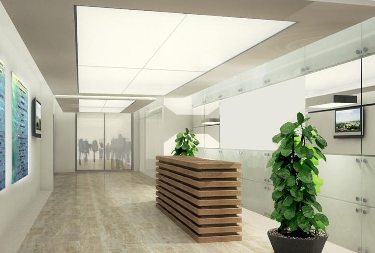 עיצוב לובי בבניין משרדים