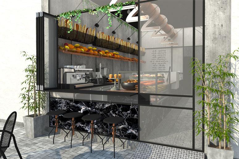חזית קדמית עשויה פרופיל בלגי ברזל שחור בשילוב חלון נפתח לשירות לרחוב ובצידו דלפק בר ישיבה חיצוני
