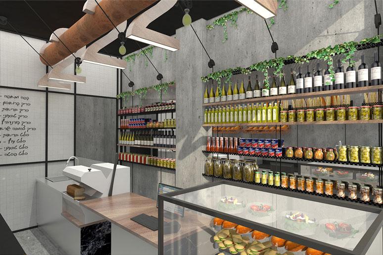 מדפים לתצוגת יינות, ריבות ומוצרים נילווים בתוך נישה קטנה מקבלים נפח בעזרת גב מראה לכל אורך הקיר