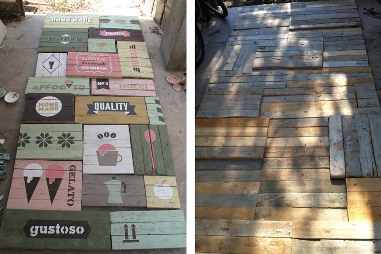 עיצוב קיר ויטרינה חיצוני מעץ ממשטחים והדפסים צבועים