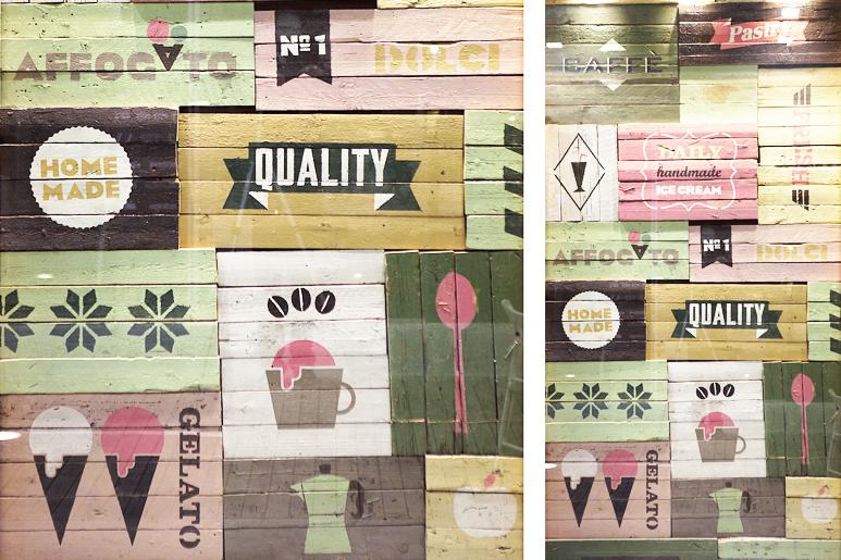 הדפסות על עץ משטחים ישן ומשומש במיתוג עדכני המהווה חלק עיקרי בעיצוב כולו