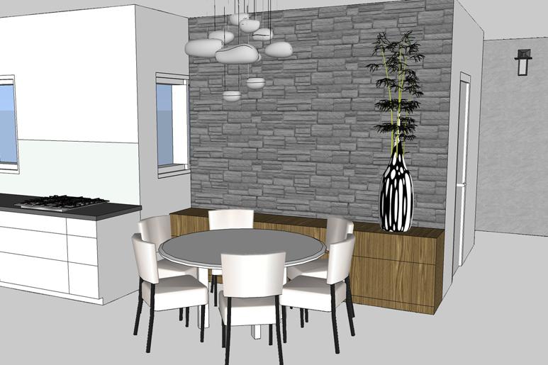 עיצוב פינת אוכל על ידי חיפוי הקיר באבן גסה