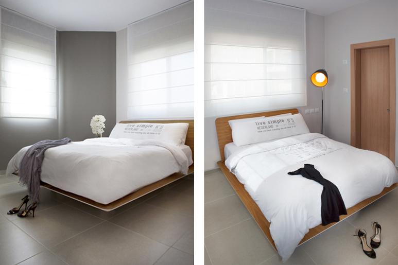 עיצוב חדר שינה בגוונים מרגיעים בשילוב פרטי ריהוט בקו נקי ובמראה מרחף