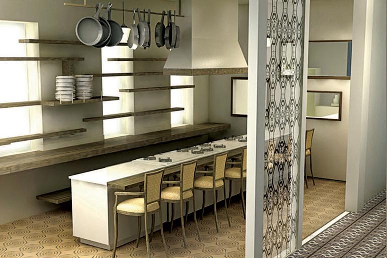 שילוב אלמנטיים קיימים בפונקציות חדשות וחלוקת חלל שונה בהתאם. בר חושף מטבח פתוח במסעדה