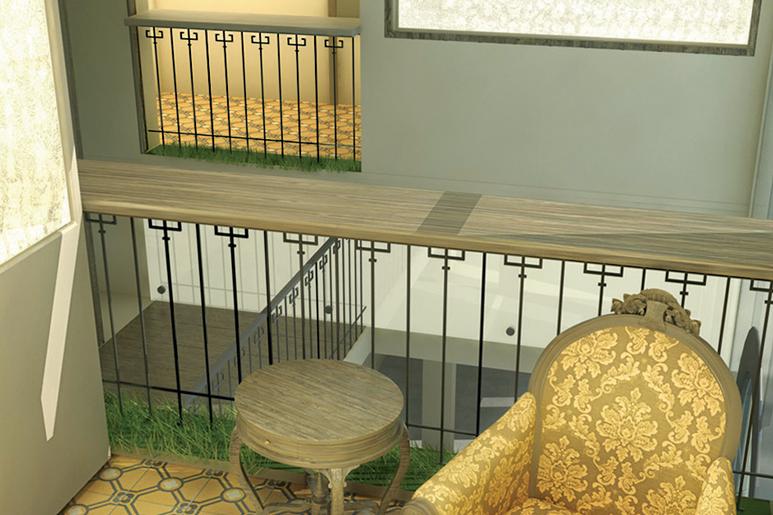 עיצוב תעשייתי לריהוט וגופי תאורה בהשראת אלמנטים ארכיטקטוניים קיימים במבנה החל מאלמנטים של פרזול ועד סוגי ריצוף וטקסטורות ישנות