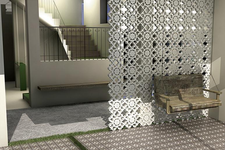 עיצוב מסעדה קונספטואלית בבניין ישן לשימור. כשמסורת פוגשת חדשנות. משרבייה בחיתוך בלייזר עשויה עץ