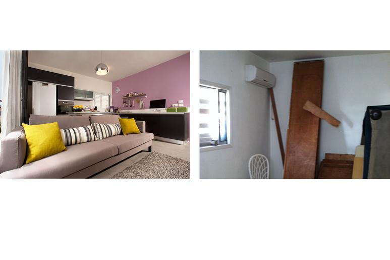 לפני ואחרי שיפוץ ועיצוב סלון ומטבח