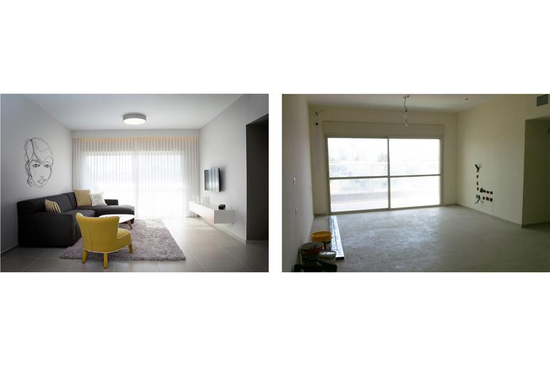 לפני ואחרי עיצוב סלון בדירת קבלן