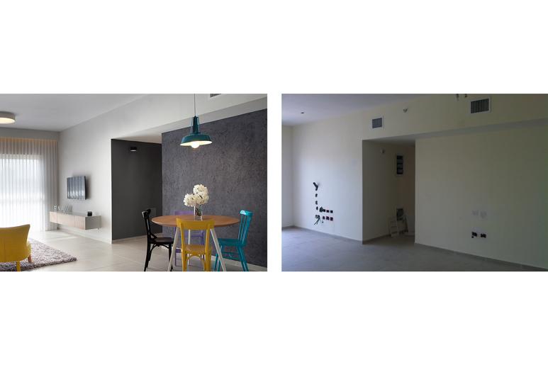 לפני ואחרי עיצוב פינת אוכל וסלון בדירת קבלן
