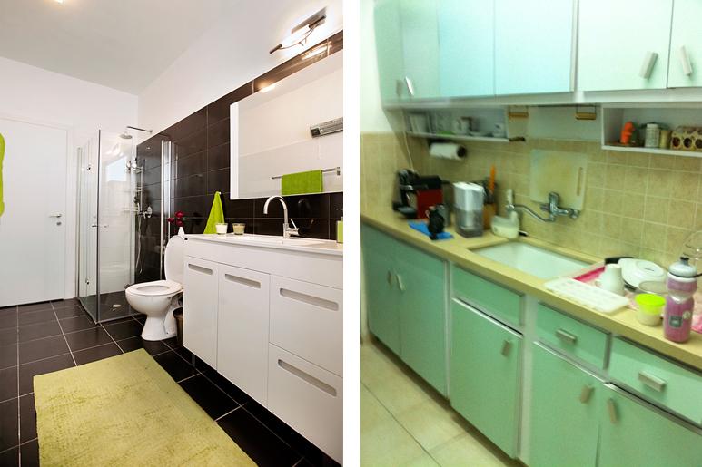 לפני ואחרי שיפוץ ועיצוב - היכן שהיה ממוקם המטבח כיום ממוקם חדר הרחצה