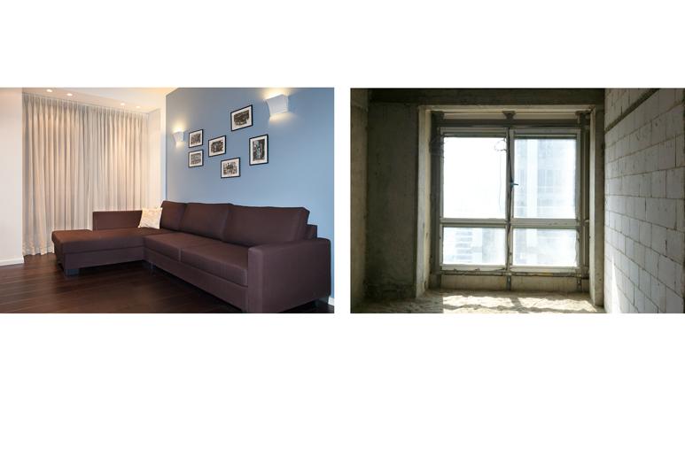 לפני ואחרי עיצוב דירה במגדל יוקרה