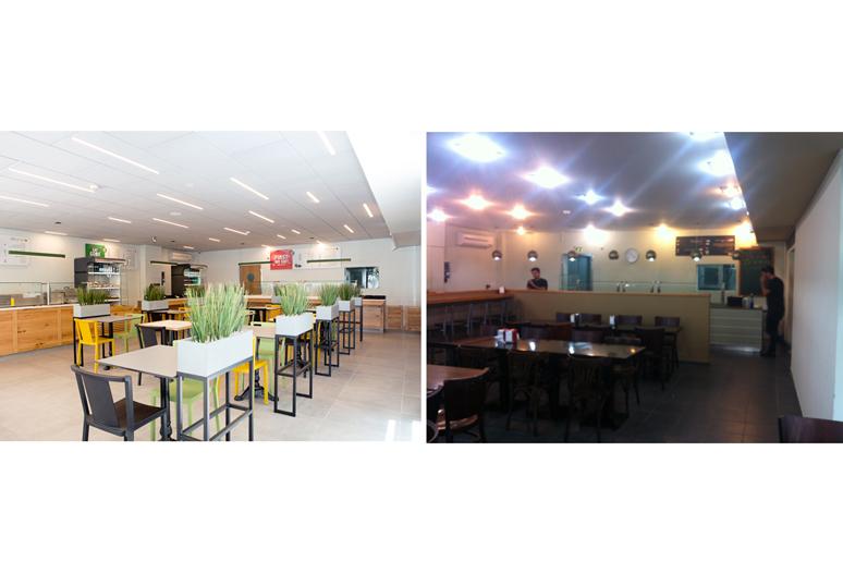 לפני ואחרי שיפוץ קפיטריה באוניברסיטת תל אביב - חיפוי תקרה באריחים אקוסטיים כפתרון לבעיות קיימות