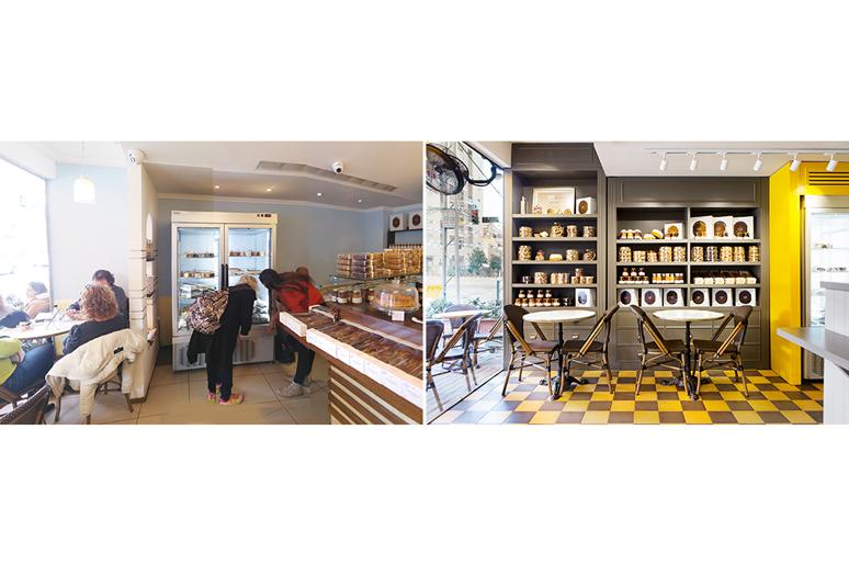 עיצוב בית קפה צרפתי פטיסרי - תמונות לפני ואחרי עיצוב פינת ישיבה ומדפי תצוגה