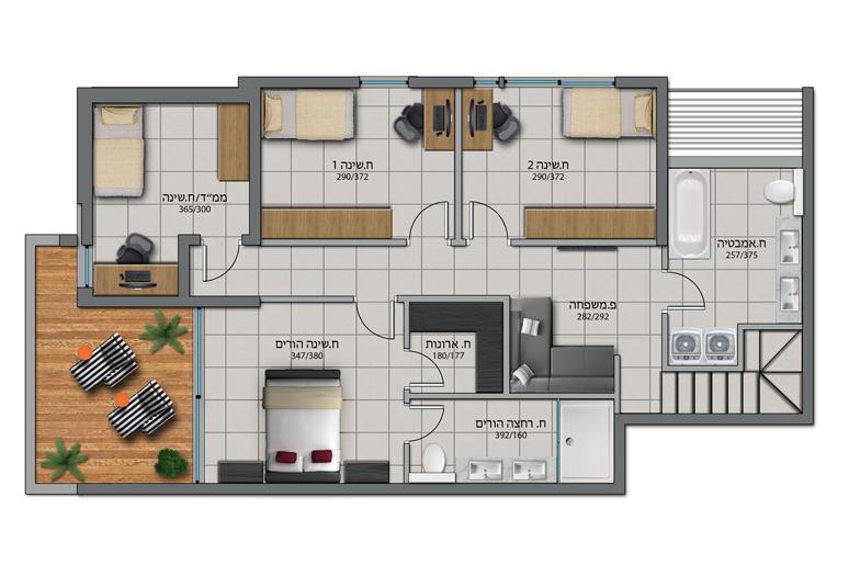 תכנון ועיצוב תכניות מכר קומה תחתונה