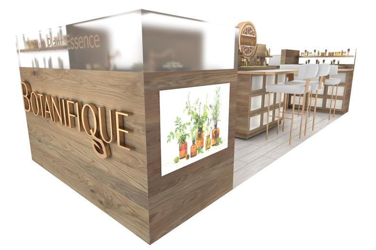 עיצוב דוכן קוסמטיקה בקניון בחול מאופיין בשימוש בעץ אלון מגוון, זכוכית אסיד ותמונות אווירה מוארות