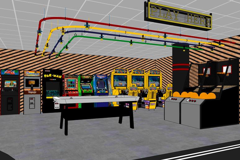 כניסה לאזור משחקי הוידאו - חיפוי עץ OSB צבוע באופן חלקי, גופי תאורה עשויים צינורות צבעוניים ושלטי נאון בכניסה