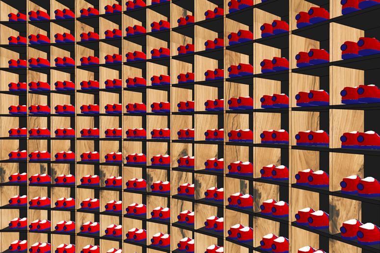 תאי הנעליים בעמדת הקבלה. 300 תאים ל 300 זוגות נעלייםץ התאים עשויים עץ סנדוויץ בחיפוי פורמיקה במספר גוונים