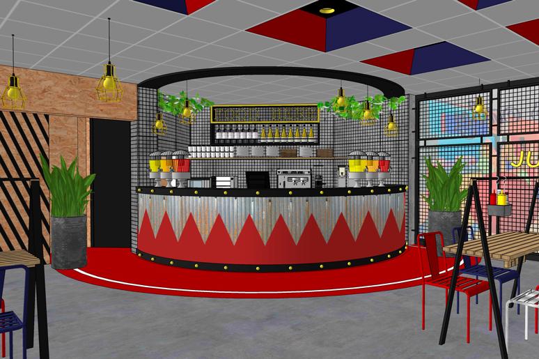 דלפק המזנון שבמסעדה תוכנן בחיפוי פח גלי צבוע לפי דוגמא ונישות קיימות בתקרה נצבעו בגווני המותג החדש