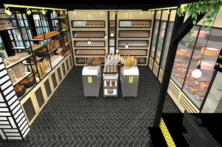 כל חזית בחלל המכירה מציעה מוצרים שונים ביחידות תצוגה שונות המשלבות ברזל ועץ