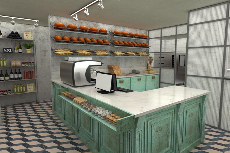 דלפק המכירה מציג לחמים, עוגיות וכריכים המוכנים במקום.