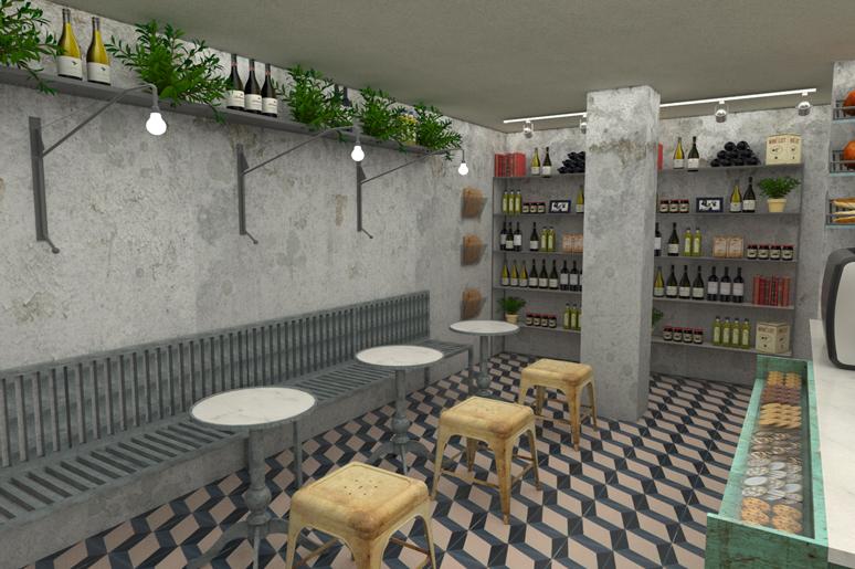 רצפת בטון מצויירת, פינת ישיבה חברתית, שולחנות קפה קטנים ותחושה אינטימית