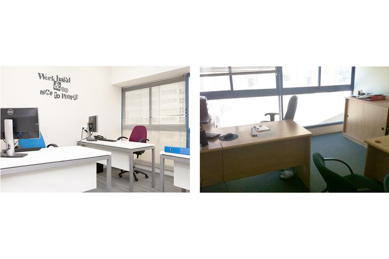 לפני ואחרי עיצוב משרד עובד