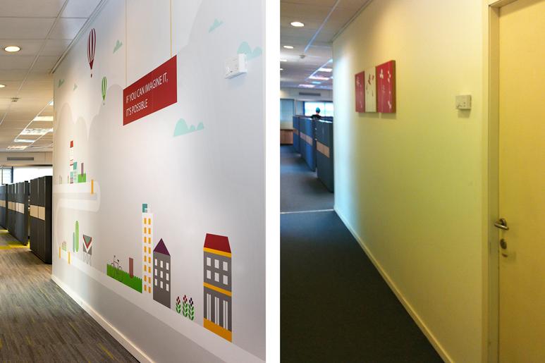 לפני ואחרי עיצוב מסדרון במשרדי חברה