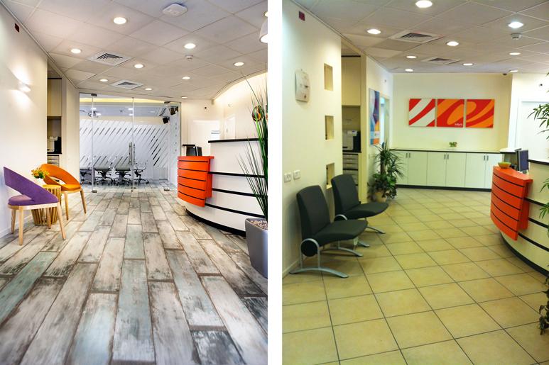 לפני ואחרי עיצוב מבואת כניסה וקבלה במשרד