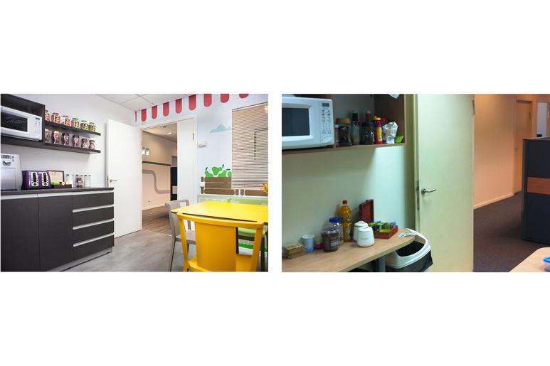 לפני ואחרי עיצוב חדר אוכל בבניין משרדים