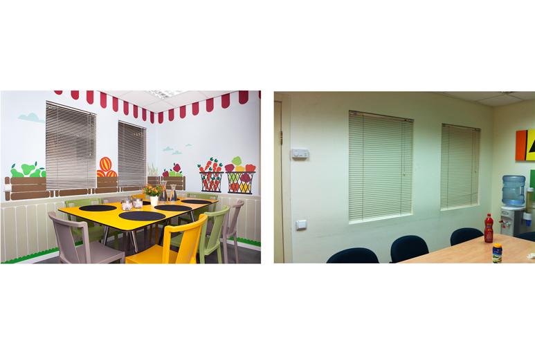 לפני ואחרי עיצוב חדר אוכל לעובדים