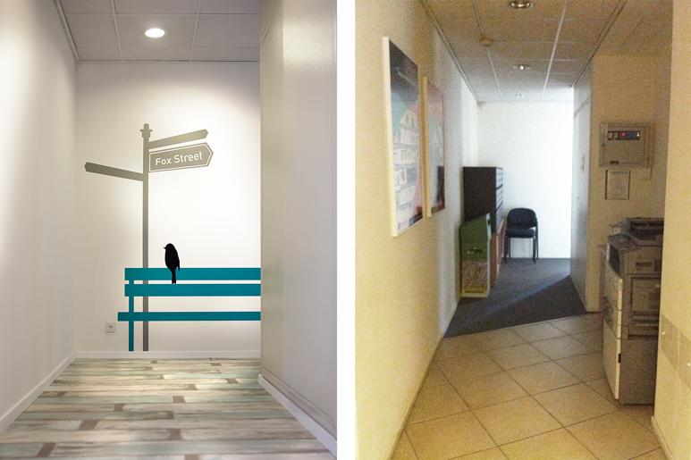 לפני ואחרי מסדרון קומתי בבניין משרדים