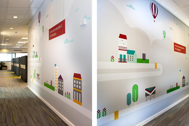 חיפוי קירות משרדי העובדים במיתוג שמח וקליל