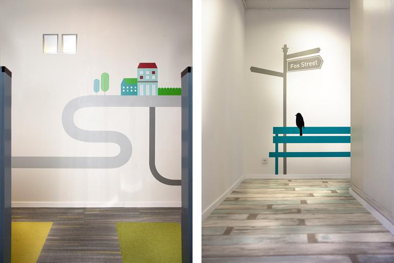 חיפויי רצפה שונים וגרפיקה שונה בהתאם למיקום השונה במשרד