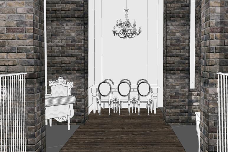 הדמיות בשלב תכנון חנות רהיטים - מבט מהכניסה חושף עמודים מחופים לבנים מפירוק