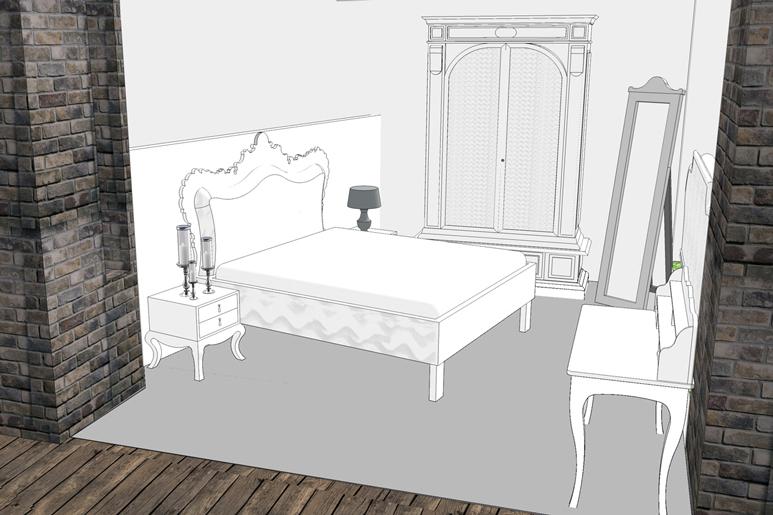ארגון הרהיטים בחלל כבחדר שינה בסגנון של פעם