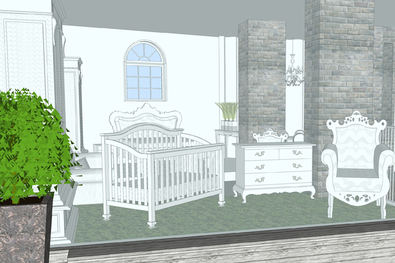 מבט מהרחוב אל חלל התצוגה חושף חדר תינוק מעוצב