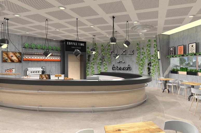 תכנון ועיצוב בית קפה בקאמרי בתל אביב עבור רשת בתי הקפה קופי טיים
