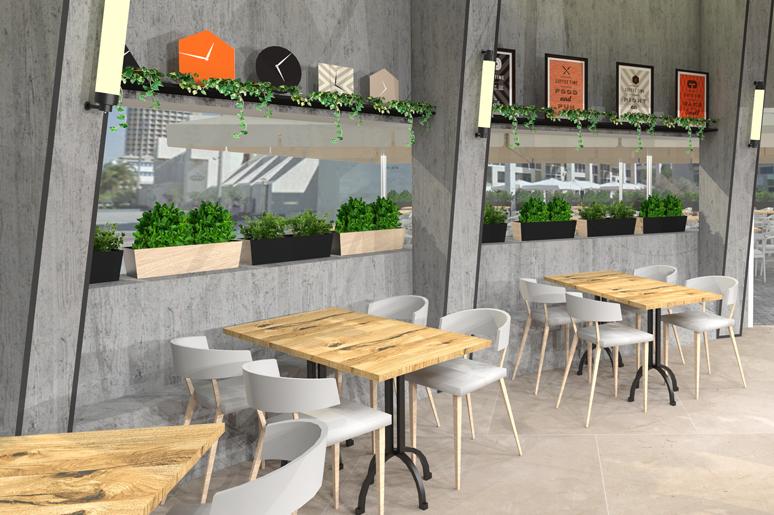 פינות ישיבה בבית הקפה - מושב יצוק מבטון, שולחנות עץ, אדניות ומדפי תצוגה עם אלמנטים ממותגים