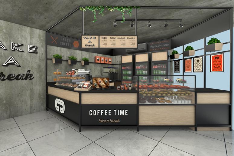 עיצוב עמדת קפה - מסגרת ברזל שחורה בתוכה דלפק עם קונסטרוקציה היקפית עשויה ברזל בשילוב עץ אלון מגוון תפריט תלוי וקיר בטון צידי ממותג