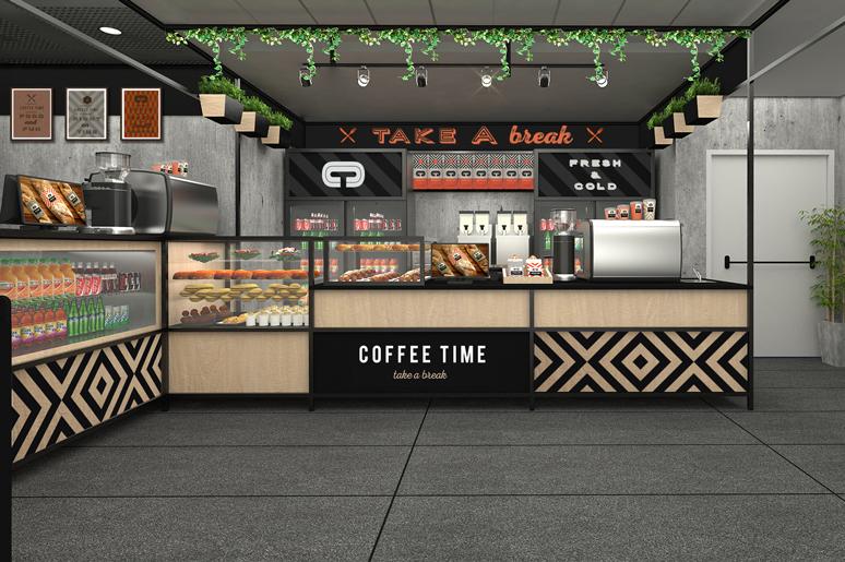 עיצוב עמדת קפה בשפה זהה במיקום שונה באותו המתחם הפעם בשילוב עץ מודפס וחיפוי ויטרינה ומקררים במסגרות ברזל וטפטים ממותגים