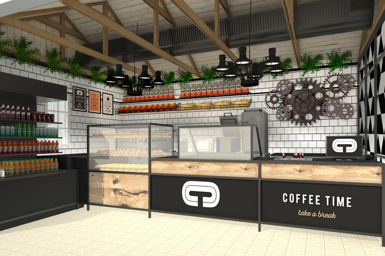 תכנון ועיצוב בית קפה בשרונה בתל אביב של רשת הקפה המצליחה קופי טיים. העיצוב מאופיין בקונסטרוקציית מתכת בשילוב עץ אלון גס מגוון. קיר דלפק אחורי מחופה באריחי קרמיקה לבנים בצורת בריקים עליהם מדף תצוגת לחמים, צמחיה ושקיות קפה
