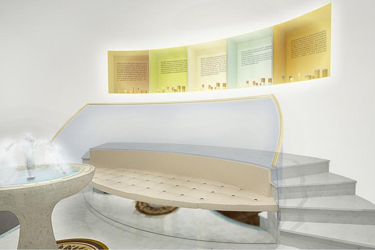 לאורך כל הקיר האחורי נישות תצוגה למוצרים לפי גוונים וסוגים אליהן מובילות מדרגות אבל ולצצידן ספת ישיבה