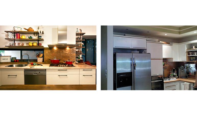 לפני ואחרי עיצוב אזור המטבח