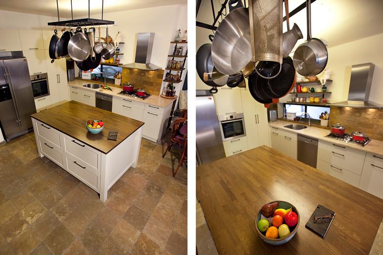 המטבח הסגור והקטן הורחב בעזרת חלוקת חלל חדשה ובחירת חומרים ייחודית