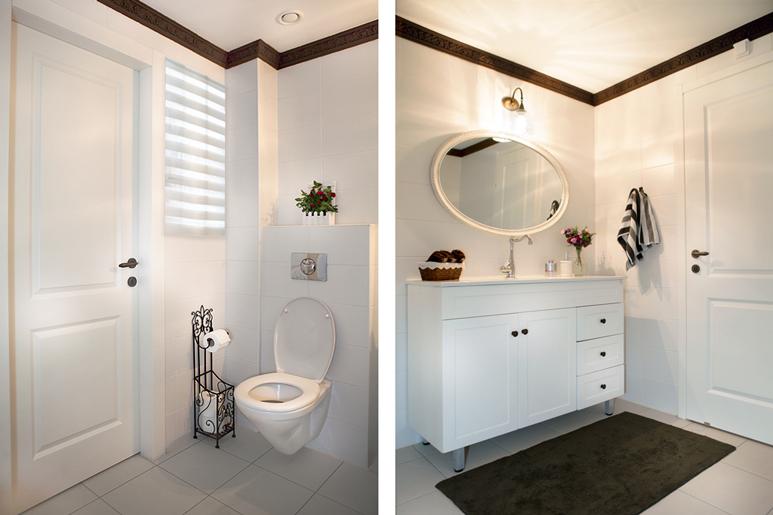 עיצוב שירותים וחדר אמבטיה תוף שימוש בסטנדרט המוצע מהקבלן תוך שימוש אלמנטים עיצוביים וקרניז עליון צבוע המותאם לסגנון הבית