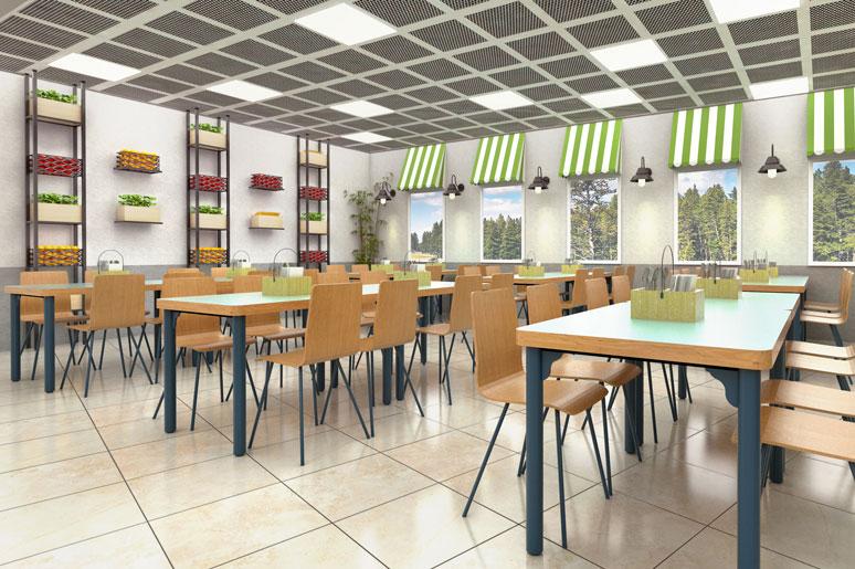 עמודי ברזל וארגזי עץ ובתוכם פירות וירקות עשויים פלסטיק בצד פרגולות ירוקות הממסגרות את החלונות