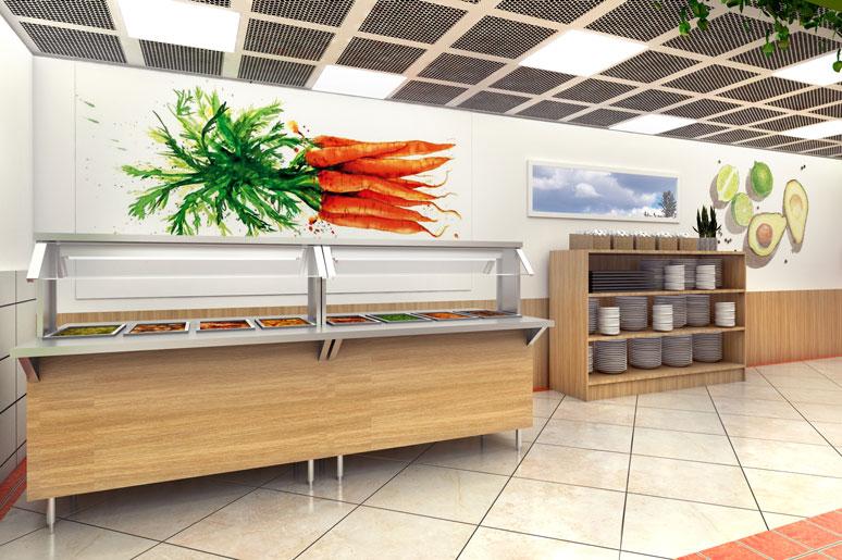הדפסים וציורים של ירקות ופירות מוגדלים יוצרים כתמי צבע על גבי הקירות הבהירים והחלל המואר
