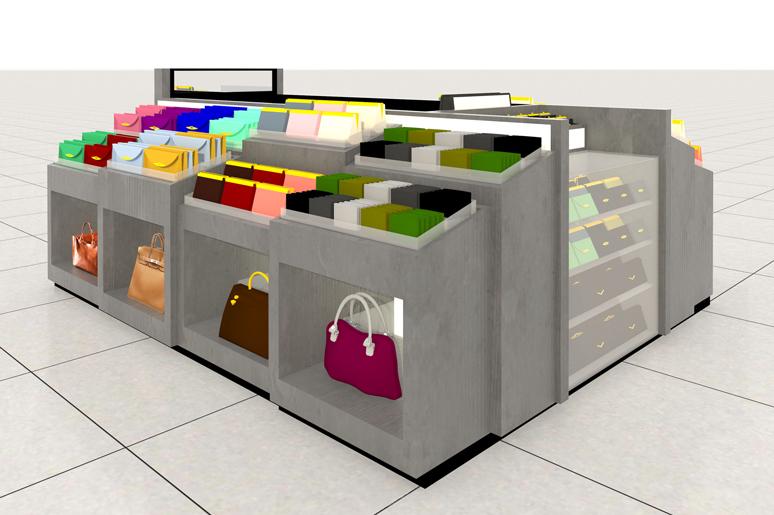 תכנון ועיצוב דוכן ארנקים ותיקים בקניון עבור המותג עמנואל. הדוכן עוצב בצורת פודיומים בגימור בטון בשילב זכוכית, פרספקס, תאורת לד נסתרת, מראות ושלטים