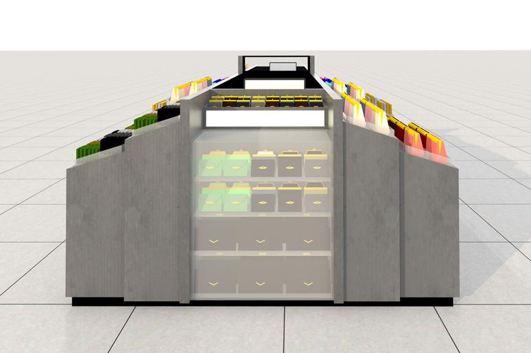 בין דלפק הקופה ללקוח מתוכנן ארון אחסון שמעליו תאי תצוגת ארנקי קופה ומלפניו אקווריום זכוכית המכיל דלתות ומדפי זכוכית לתצוגת מוצרים יוקרתיים וסגורים על ידי מנעול