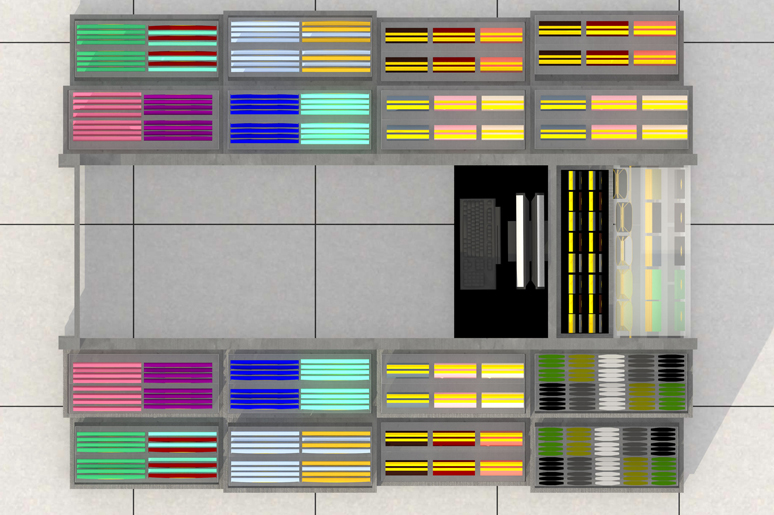 הדוכן מעוצב באופן סימטרי כך ששתי החזיתות הארוכות שלו מציגות את מרבית המוצרים, בחזית הקצרה השמאלית דלת כניסה ממותגת בשילוב מראה ובחזית השניה עמדת קופה ותצוגת מוצרים ייחודיים